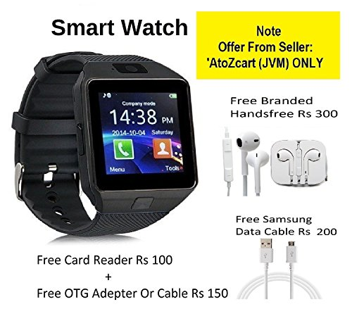 Samsung GALAXY CORE PRIME 4G Compatible and Certified set of Earphones with Mic Rs 300 + DZ09 Bluetooth Smart Watch with SIM Card Slot and Memory Slot upto 16GB supported Watch Phone Remote Camera + Samsung Data cable Rs 200 + Free Card Reader Rs 100 + Free OTG Cable Rs 150