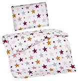 Aminata Kids Kinder-Bettwäsche 100-x-135 cm Stern-e Star Sternchen Baby-Bettwäsche 100-% Baumwolle Renforce Bunte pink rosa orange Weiss Mädchen