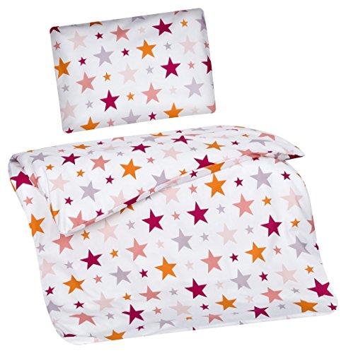 Aminata Kids Kinder-Bettwäsche 100-x-135 cm Stern-e Star Sternchen Baby-Bettwäsche 100-{3dbac590294ce163df7b420b58bf4247571ca701aa3ef66ca6a176a5e83d8d18} Baumwolle Renforce Bunte pink rosa orange Weiss Mädchen