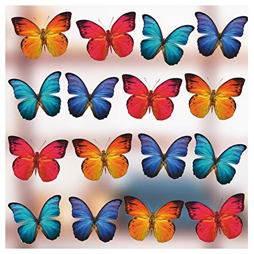 Stickers4 Schmetterlings-Fensteraufkleber zum Schutz gegen Vogelschlag - 16 schöne Schmetterlings- Glasaufkleber, doppelseitig und selbstklebend zum Schutz gegen Vogelkollisionen