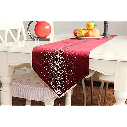 SKL Luxury Velvet Table Runner With Rhinestones (Red, 32cm*200cm)