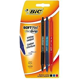 BiC 837394 Soft Feel – Bolígrafo de punta redonda (3 unidades), color multicolor paquete de 3