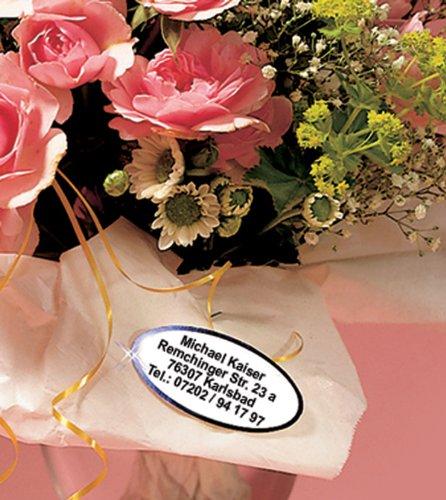 ADRESS-AUFKLEBER in schöner OVALEN Form mit Wunschdruck, metallic-kupfer | kupferfarbene Schrift und kupferfarbener Rand, 200 Stück auf der Rolle| schöne geprägte Adress-Etiketten, oval | Namens-Aufkleber, individuell mit Wunschtext, ca. 53 x 26 mm, für 1 bis 5 Zeilen, Metallic-Look