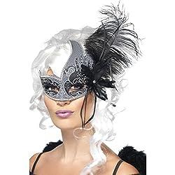 Una mascherina veneziana da donna decorata con piume nere