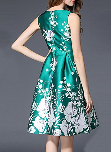 Azbro Women's Sleeveless Floral Printed A-line Dress green