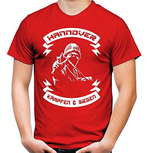 Hannover kämpfen & Siegen Männer und Herren T-Shirt | Fussball Ultras Geschenk | M2 (S, Rot)