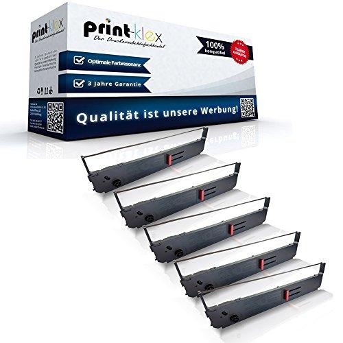 5x Kompatible Schriftbänder für OKI ML 393 OKI ML 395 B 395 C 395 Elite 3410 09002311 ML-393 Schrift-Band-Kassette Schwarz Color Line Serie - Pacemark 3410 Farbband, Schwarz