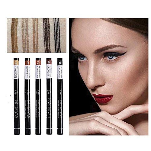 Aolvo 5 Packs Liquid Tattoo Eyebrow Pen with Four Tips Brow Pen, Long-Lasting Waterproof Brow...