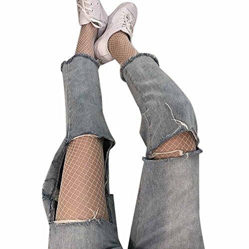 MAYOGO Damen Sexy Strumpfwaren Schwarze Netzstrümpfe Strumpfhosen Schwarz Rot Weiß Lange Leggings Mesh Strümpfe Bodystockings Fishnet Socks