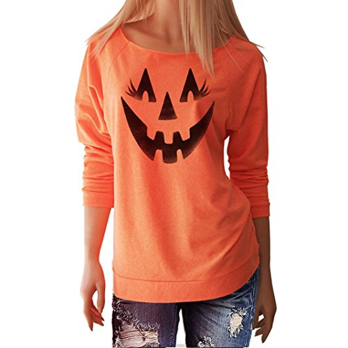 Kit Adult Kostüme Katzen Kostüme (Hirolan Halloween Frau Lächeln Kürbis T-Shirt Lange Hülse Tops Bluse (L,)