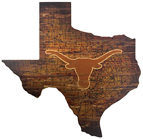 Texas Dekor (NCAA Texas Longhorns 61x 58,4cm State Aussparung mit Logo Holz Schild)