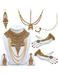 Lucky Jewellery Traditional Golden Color Alloy Bridal Set For Women And Girls - B07673VHPX