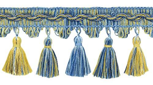 Decopro 9cm frangia trim–champaigne gold, cadet blu, blu francese, style # vtf035, colore: azzurro, oro–vnt13, venduto al yard (0,9m = 91cm/0,9m/91,4cm)