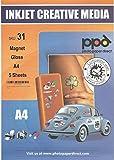 PPD - PPD-31-5, Carta fotografica lucida, magnetica, per stampanti a getto d'inchiostro, formato A4, 5 fogli