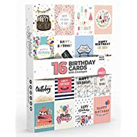 16 x Birthday Cards by Joy MastersTM Vol.2 | Multipack with ENVELOPES | Large Set for Men & Woman