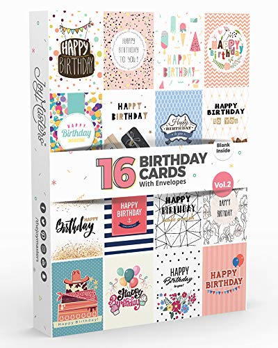16 x Geburtstagskarten von Joy MastersTM 2. Auflage | Multi Packung mit UMSCHLÄGEN | Großes Set für Männer & Frauen