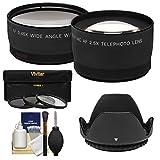 55mm Essentials Paket mit Teleobjektiv & Weitwinkel-Objektive + 3UV/CPL/ND8Filter + Gegenlichtblende + Reinigungsset
