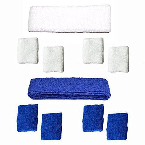 RETON Premium Soft Cotton Armband Stirnband Schweißband Set für Sport Basketball / Fußball / Volleyball / Yoga / Pilatus / Laufen Outdoor-Aktivitäten (Blau+Weiß)