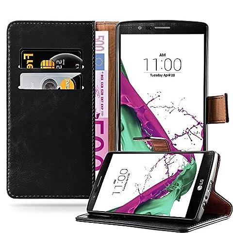 Cadorabo - Luxury Etui Housse pour LG G4 Portefeuille (stand horizontale et fentes pour cartes) - Coque Case Cover Bumper Portefeuille en NOIR DE JAIS