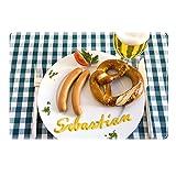 Tischset mit Namen ''Sebastian'' Motiv Senfschrift - Tischunterlage, Platzset, Platzdeckchen, Platzunterlage, Namenstischset
