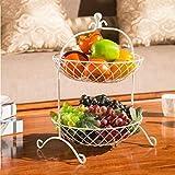 BAIF Moda Creativa Canasta de Frutas Sala de Estar Frutero Metal Dos Niveles Placa de Frutas Cestas de Flores de Hierro Bastidores de Cocina Frutos Secos, 46 * 28 cm (Color: Blanco)