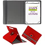 Acm Rotating Leather Flip Case For Byju Learning Tab 10 Inch Tablet Cover Stand Red
