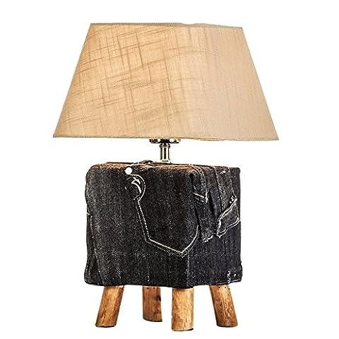 GJY American Cowboy Stil Holz Tisch Lampe Schlafzimmer Nachttisch Lampe Dekoriert Wohnzimmer Studie