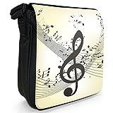 Violinschlüssel Musiknoten Chaos Kleine Schultertasche aus schwarzem Canvas
