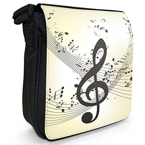 Musik ohne Ende mit Notenchaos Kleine Schultertasche aus schwarzem Canvas Violinschlüssel Musiknoten Chaos