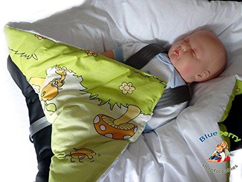 BlueberryShop Luxuriöse Klassische für AUTOSITZ Wickeldecke Schlafsack für Neugeborene, GESCHENK 100% Baumwolle, 0-4M ( 0-3m ) ( 78 x 78 cm ) Creme Kätzchen