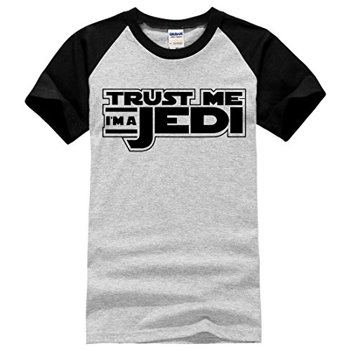 Men's Trust Me I'm a Jedi Knight Letters Printed Cotton Tee Shirt Black Grey