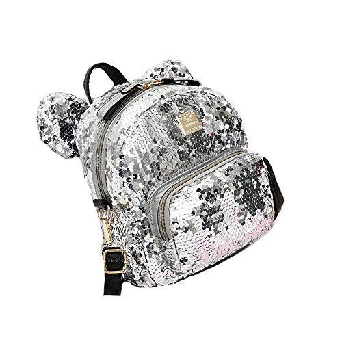 LJPzhp Pailletten Rucksack Pailletten Schulrucksack Bookbag Für Mädchen Kinder Teen Cute Glitter Sparkly Book Bags Zurück Für Schule oder Reise (Farbe : Silber, Größe : Einheitsgröße)