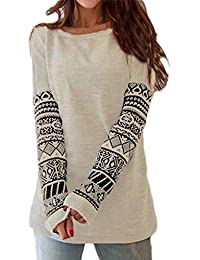 ZANZEA Women's Sexy Casual Autumn Print Loose Long Sleeve Round Neck Tops Blouse T-Shirt