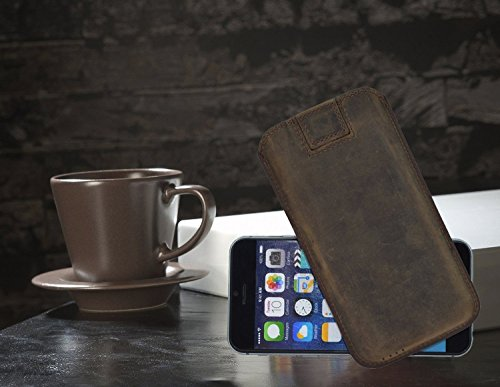 Original Suncase Tasche für iPhone 8 / iPhone 7 / iPhone 6s / iPhone 6 (4.7 Zoll) *Ultra Slim* Leder Etui Handytasche Ledertasche Schutzhülle Case Hülle (mit Zieh-Lasche) schwarz mit blauen Nähten antik-kiwi grün