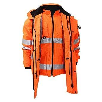 Yoko Hi Vis Multi-Function Breathable & Waterproof 7-In-1 Jacket (S) (Hi Vis Orange)