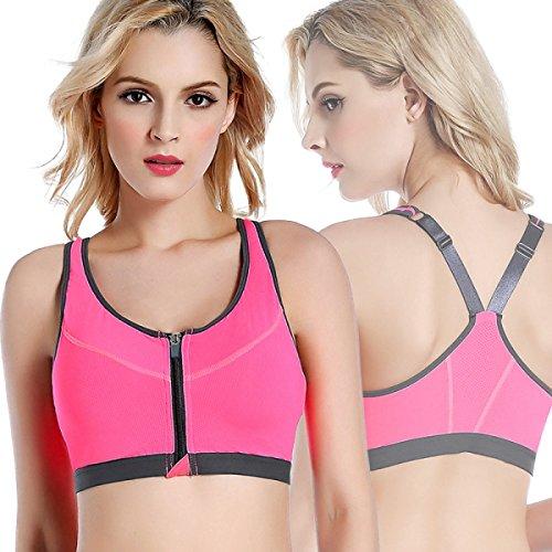 JFIN Femmes Forme U Brassière Mélange De Polyester Active Front Zipper Rose Indy Pro Red