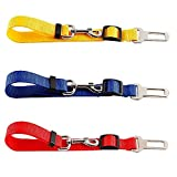 Acidea 3 Pack Haustier Hunde Auto Sicherheitsgurt Anschnallgurt Anschnaller Verstellbar Rot Gelb Blau