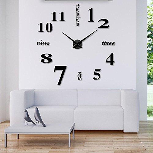 Viwaro DIY Wanduhr Uhr 3D Deko Design Uhrzeit Wohnraum Edelstahl Accessoire Wand Uhr Groß XXL (Modell 20)