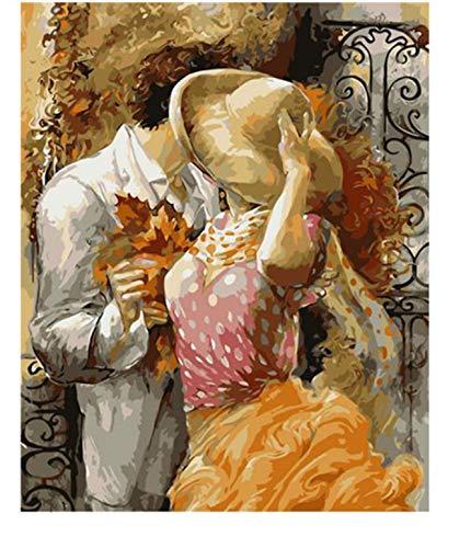 Agolong Romantische Paare, die Plakat-Malerei nach Zahlen weniger DIY handgemalte amerikanische Art-Abbildung-Malerei-Geschenke für Liebhaber küssen Mit Rahmen 40x50cm -