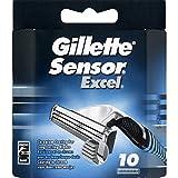 Gillette - Sensor Excel - Lames de rasoirs avec lamelles protectrices souples et lames montées individuellement sur ressort - Le blister de 10 lames - (pour la quantité plus que 1 nous vous remboursons le port supplémentaire)