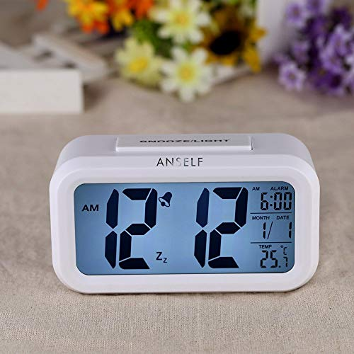 Anself LED Digital Alarma despertador Reloj Repeticion activada por luz Snooze Sensor de luz Tiempo Fecha Temperatura (Blanco puro)