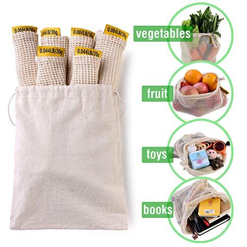 XREXS Wiederverwendbar Obst- und Gemüsebeutel 7er Set Mesh Produzieren Taschen aus Baumwolle mit Gewichtsangabe - Obstnetz Wiederverwendbar Gemüsenetz aus Baumwolle Einkaufsnetz