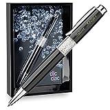 Cadenis Geschenkset Kugelschreiber mit persönlicher Laser-Gravur schwarz mit Kristalle und Bilderrahmen