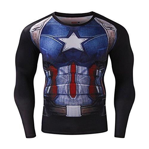 Cody Lundin Homme Compression Manches Longues t - shirt Captain Héros Mouvement Fitness Jogging collants Chemise (M, Multicolore)