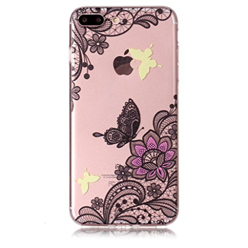 Fodlon® Kuchen Transparent Weich Hülle für Apple iphone 7 plus Diagonale Blume