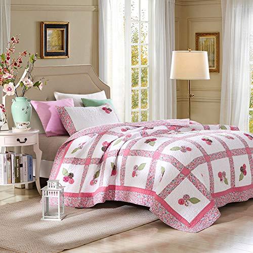 160x200cm Rosa Kleine Blumenmuster Gedruckt Quilt Set Patchwork Baumwolle Bettwäsche, Tagesdecke für Kinder Mädchen (Pastell Set, 2 Stück), G013