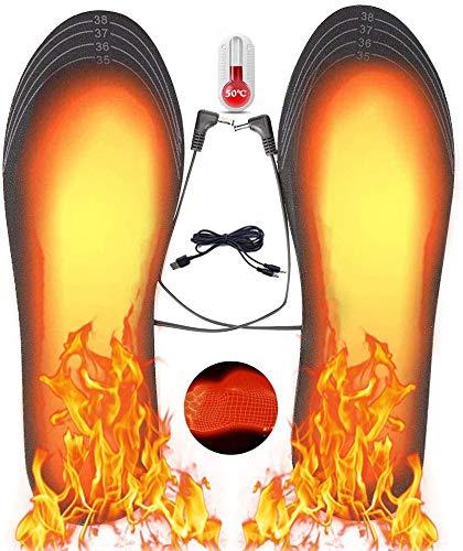 Hospaop Semelle Chauffante, Semelle Thermique, USB Semelles chauffantes, Chauffe Pied, pour d'hiver, de pêche, de randonnée, de Camping, Taille Peut être coupé et Lavable, Taille: 40-44