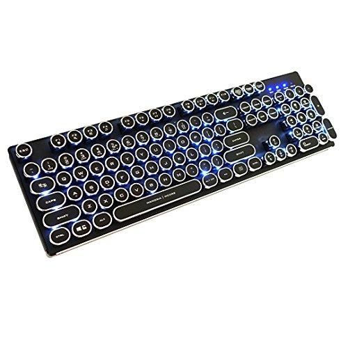Basic-104 Keyboard (Nanoxia 900700120 Ncore Retro - Aluminium, 104 Mechanische Tasten, Anti-Ghosting, Kahil White Switches, Weiße LED Hintergrundbeleuchtung, US-Layout)