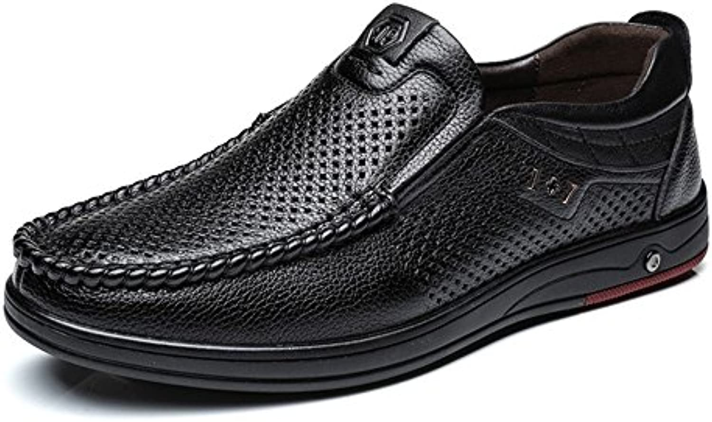 Ruiyue Echtes Leder Loafer Männer  Klassische Echtleder Schuhe Slip on Atmungsaktiv Perforation Soft Flache Sohle