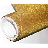 CVANU Glitter Self Adhesive Shelf Liner Film Vinyl Peel-Stick Multipurpose Roll, 12X36-inches (Golden)